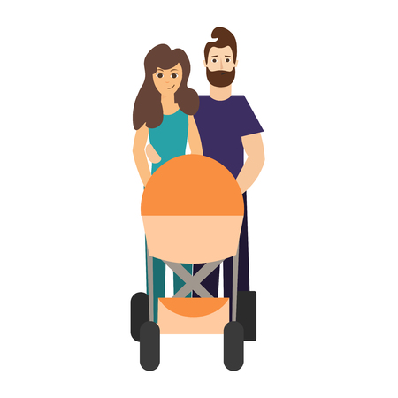 stroll: Cartoon Cute Parents with a Stroller. Vector Stock Photo