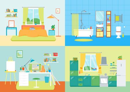 comfort: Cartoon Interior Basic Room of Home. Vector Illustration