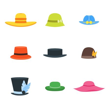 Hats Set Fashion for Men and Women. Vector Stock Photo