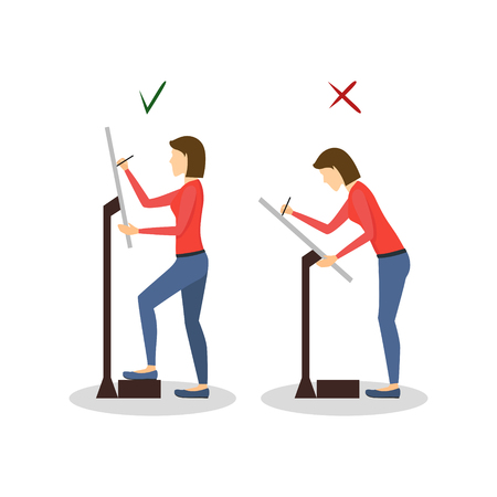 Correct or Incorrect Positions for Artist Painter Work. Vector