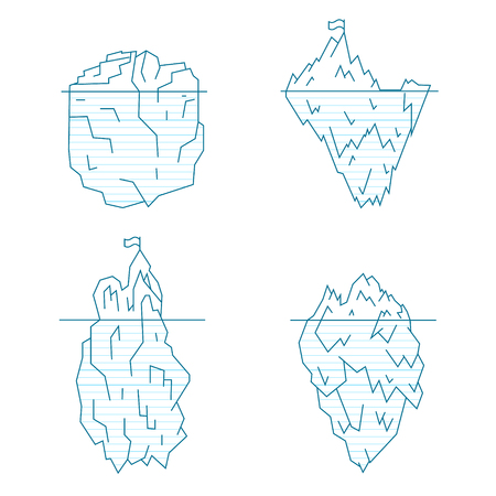 Blue Iceberg Line Style Set Symbol Arctic Landscape, North Climate. Vector illustration