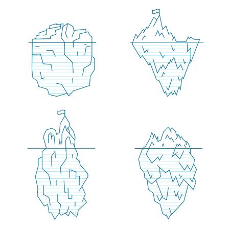 Blue Iceberg Line Style Set Symbol Arctic Landscape, North Climate. Vector illustration