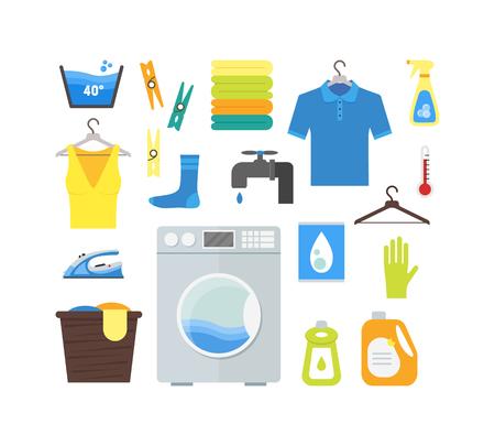 Cartoon Laundry Set. Vector