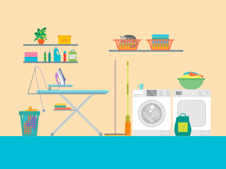 laundry room: Interior Laundry Room with Furniture. Vector Illustration