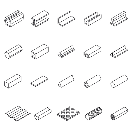 girders: Metal Icon Thin Line Set. Vector Illustration