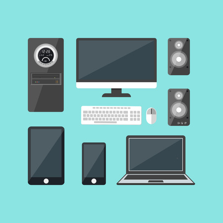 electronic devices: Cartoon Electronic Devices Set. Vector Illustration
