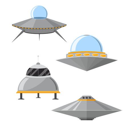 Cartoon Ufo Set. Vector Stock Photo