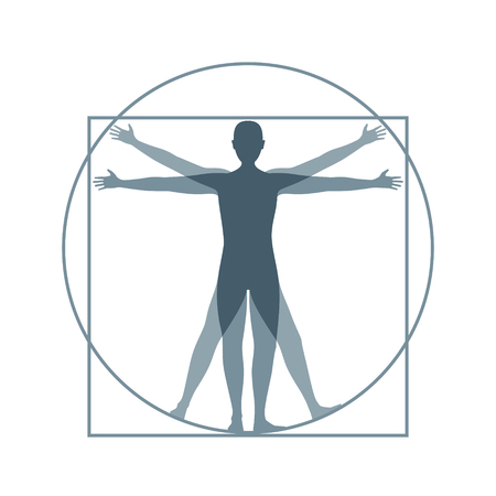 Cartoon Silhouette Vitruvian Man. Vector