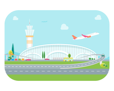 Cartoon Airport Building and Plane. Vector Illustration