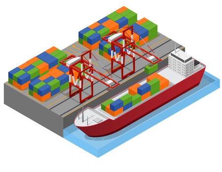 Port Town and Barge Ship Isometric View. Vector