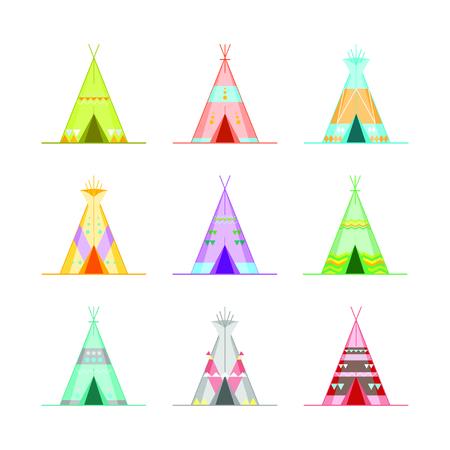 Cartoon Wigwams or Tepees Icons Set. Vector Illustration