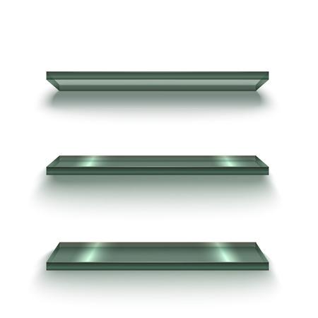 Realistic Glass Shiny Shelves Set. Vector