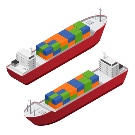 Barge Set Isometric View. Vector