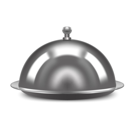 flatwares: Realistic Metal Shiny Restaurant Cloche. Vector Illustration