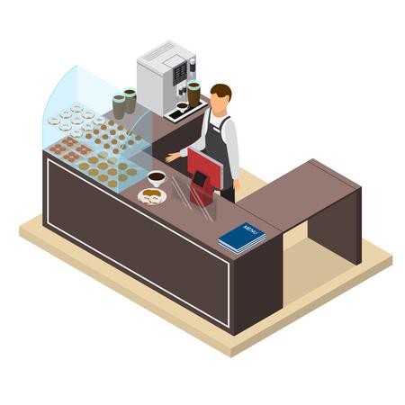 Coffee Shop of Bar Counter en Barista isometrisch aanzicht. Vector