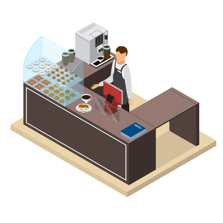 Coffee Shop or Bar Counter and Barista Isometric View. Vector