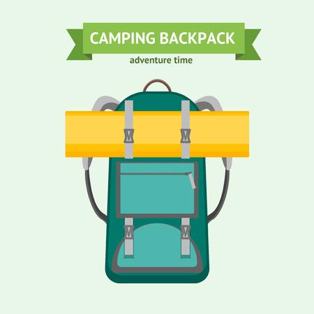 matrass: Tourist Camping Backpack Card. Vector Illustration