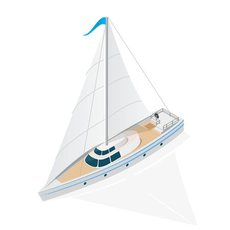 Sailing Ship Yacht Isometric View. Vector