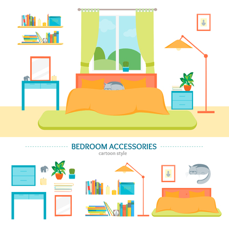 bedroom furniture: Interior Classic Bedroom with Furniture and Elements Set. Vector