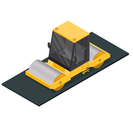 compactor: Asphalt Compactor Isometric View. Vector Illustration