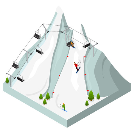 Ski Resort Isometric View. Vector