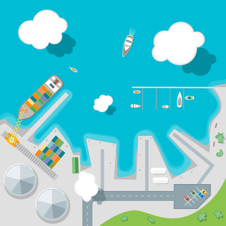 Cartoon Port Town en Barge Ship