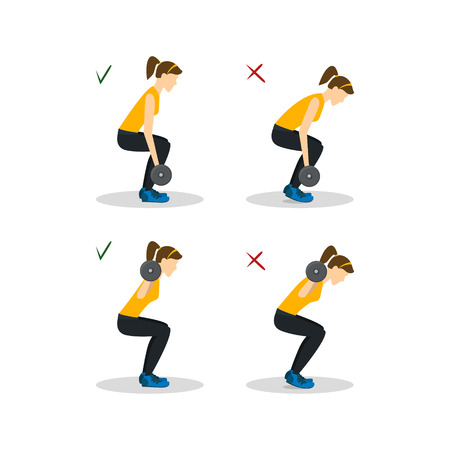 squat: Squats with Barbell. Vector Illustration