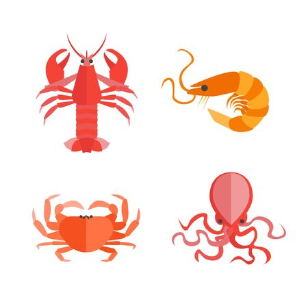 Set of Seafood. Vector Stock Photo