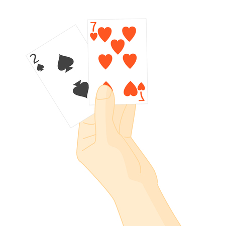 hand holding playing card: Hand Holding Playing Cards. Vector Illustration