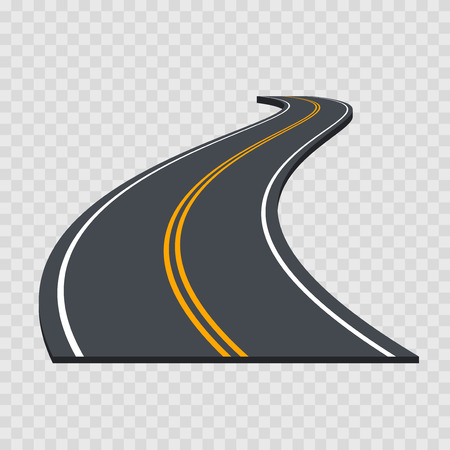 Perspective Curved Road. Vector