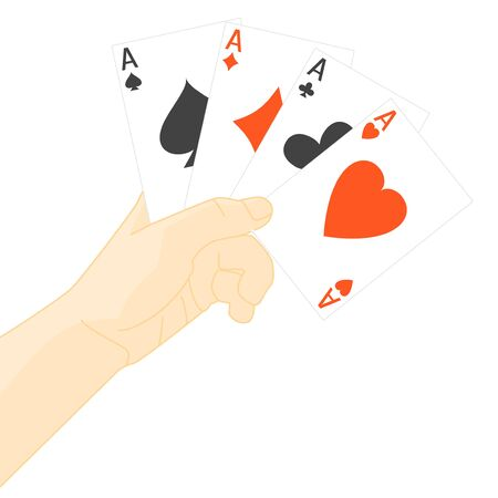 Human Hand Holding Playing Cards. Vector