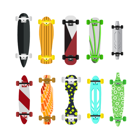 skateboard park: Cartoon Color Skateboard Set.