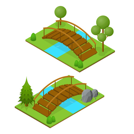 River Bridge Isometric View. Vector