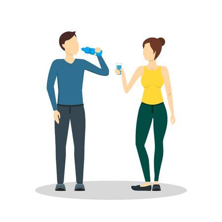Cartoon Drinking Water Man and Woman. Vector Stock Photo