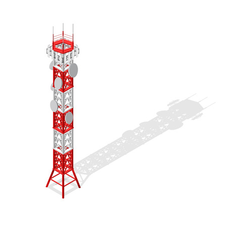 Communications Tower Mobile Phone Base or Radio Isometric View. Vector Фото со стока