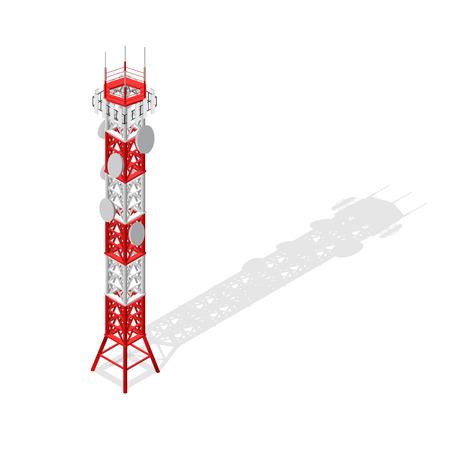 Torre di comunicazione Tower Mobile Base o Radio Isometric View. Vettore Archivio Fotografico - 72658798