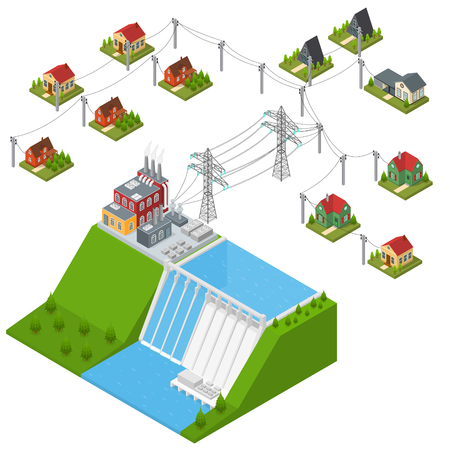 Hydroelectricity Power Station Isometric View. Vector