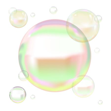 Transparent Soap Bubbles with Reflection. Vector