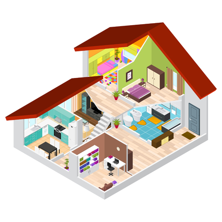 House in Cutaway Isometric View. Vector Illustration