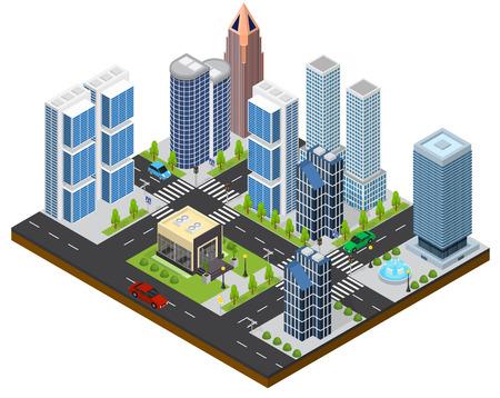 city view: City Landscape Isometric View. Vector