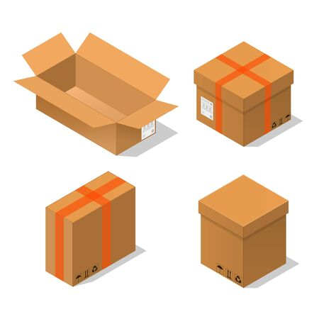 Cardboard Boxes Set Isometric View. Vector Illustration