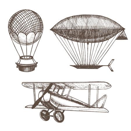 Air Balloons and Airships Hand Draw Sketch. Vector