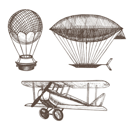 Air Balloons and Airships Hand Draw Sketch. Vector