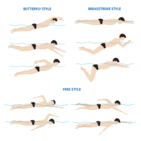 Swimming Breaststroke, Butterfly and Free Style. Vector