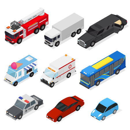 emergency engine: Cars Set Isometric View. Vector