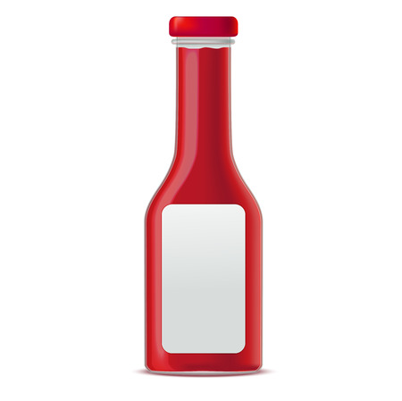 Realistic Glass Bottle for Tomato Sauces or Ketchup. Vector