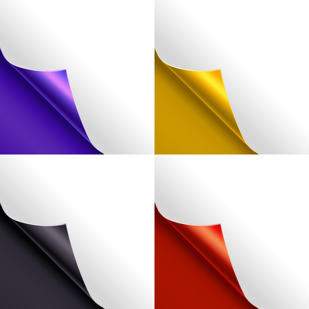rolled: Blank Paper Page Color Corner Set. Vector