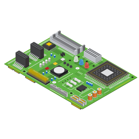 Electronic Computer Board Isometric View. Vector
