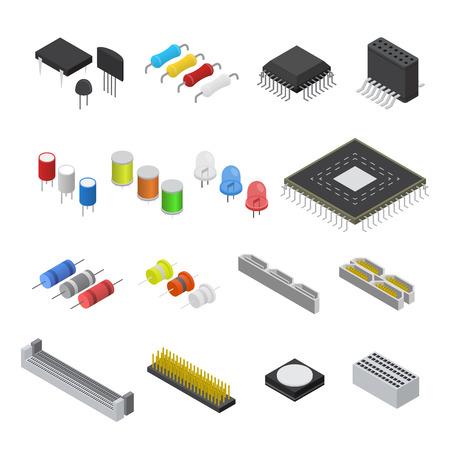 Composant de carte de circuit électronique d'ordinateur. Vue isométrique. Vecteur