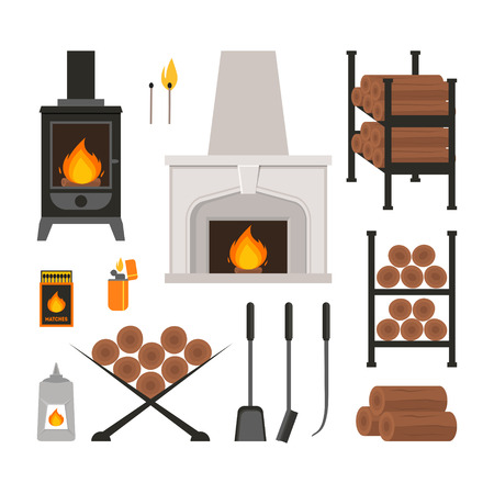 Cartoon Fireplace Icons Set. Vector